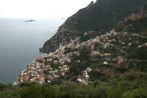 Positano, as viewed from the town of Montpertuso 1609 steps above.